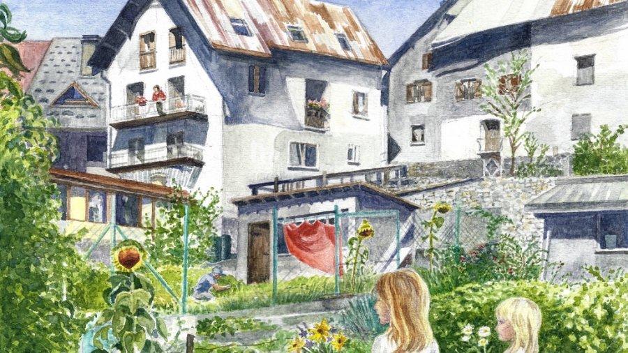 Sunflower Garden. Watercolour, 19 x 27 cm, 2014